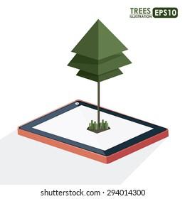 Isometric tree digital design, vector illustration eps 10