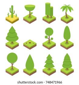 Isometric tree set. Big and small trees, pine, shrubs, felled trees, cacti, palms. Vector illustration.