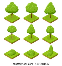 Isometric trees and bushes. Collection of trees isolated on white background. For infographics, game, and design
