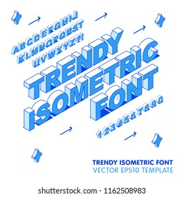 Isometric Trendy Font. Modern Thin Line Style Elements. Alphabet Template, Vector Illustration.