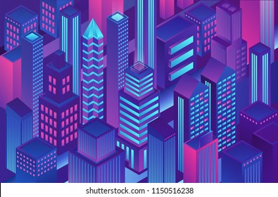 Isometric trendy violet blue gradient color city template illustration of cryptography, online electronic finance and secure banking.