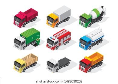 Isometric Truck Set Vector Illustration