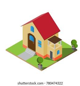 Isometric twin house vector illustration