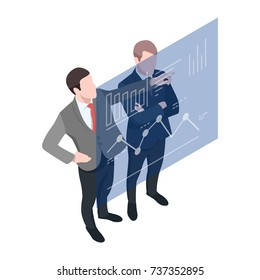 Isometric Two businessmen consulted, business analytics, graphics on the board isometric character of businessman corporation 3d vector illustration