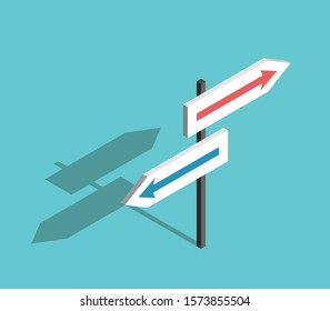 Isometric two directions sign with arrows on turquoise blue background. Choice, uncertainty, guidance and decision concept. Flat design. EPS 8 vector illustration, no transparency, no gradients