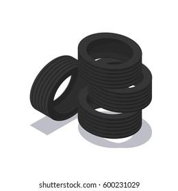Isometric tyres set icon