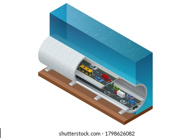 Isometric underwater tunnel for vehicular road traffic. Car tunnel under the mountain, Road tunnel.