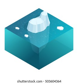 Isometric Underwater view of iceberg with beautiful transparent sea on background. Flat vector illustration.