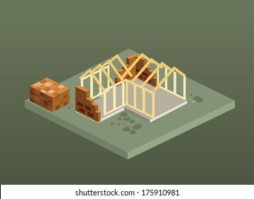 Isometric unfinished brick house construction. Isolated vector illustration.