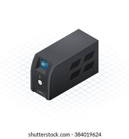 Isometric Uninterrupted Power Supply Vector Illustration
