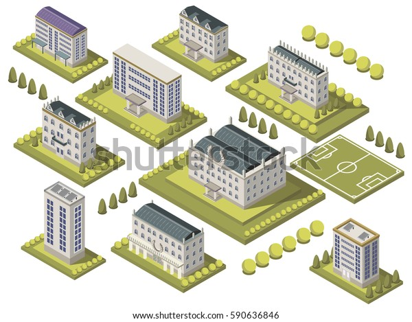 Isometric university set with sports ground and campus isolated vector illustration