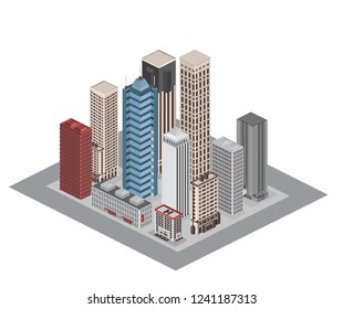 Isometric urban architecture elements different buildings 2