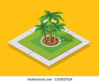 Isometric urban environment in a park with tropical palm trees