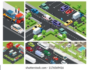 Isometric urban traffic composition with cars moving on road parking building gas station and roadside assistance vector illustration
