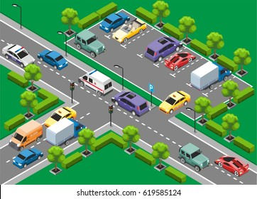 Isometric urban traffic template with colorful moving cars and vehicles on parking zone vector illustration