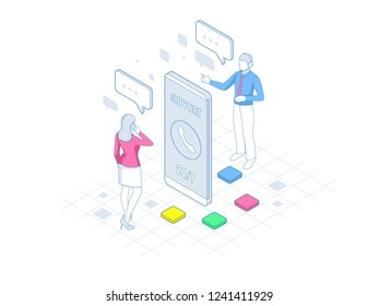 Isometric User Support Service or Call Center in outline. Customer Service banner vector illustration.