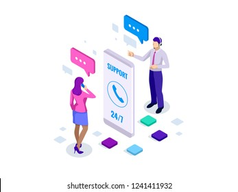 Isometric User Support Service or Call Center. Customer Service banner vector illustration.