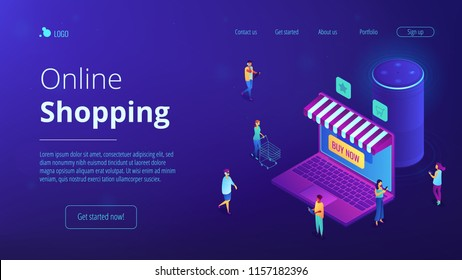 Isometric users buying in online store, laptop screen and voice assistant landing page. Online shopping and service, mobile marketing concept. Blue violet background. Vector 3d isometric illustration.