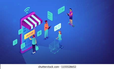 Isometric users shopping with mobile phone and Wi-Fi. Mobile phone internet shop, e-commerce and online store, online marketing concept. Blue violet background. Vector 3d isometric illustration.
