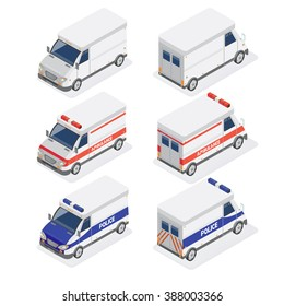 Isometric Vans Set with Ambulance and Police Car. Vector illustration