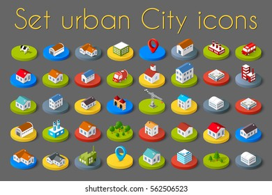 Isometric vector 3D icon city buildings for infographic concept set which includes house, offices homes shop stores, supermarkets and industrial elements