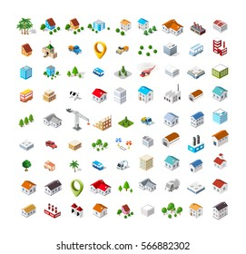 Isometric vector 3D icon city buildings for web concept set which includes house, crane, homes shop stores, supermarkets and industrial elements