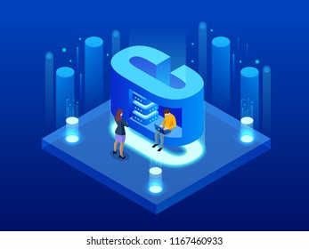 Isometric vector abstract Big Data visualization. Futuristic C letter design. Visual information complexity. Social network or business analytics representation