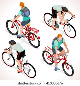 Isometric Vector Bicycle cyclist group sportsman. Cyclist Bike icon. 3D Flat isometric people set cyclist bicycle icons. Fitness Group Cycling Mountain Bike People vector image