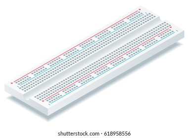 Isometric vector breadboard isolated on white background.