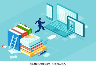 Isometric vector of a businessman switching to digital technology from paper. Business IT concept web infographics.