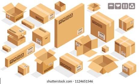 Isometric vector cardboard brown boxes on white background vector design element set.