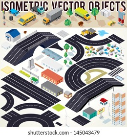 Isometric Vector Cars, Buildings, Roads and other Objects. Easy Editable Colors. Kit to Create Your Own 3D City or Street Map.