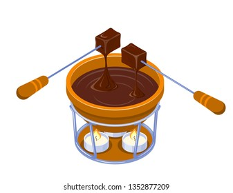 Isometric Vector Chocolate Fondue with a candle on a white background. Capacity, two forks, two pieces of bread and chocolate. Vector illustration