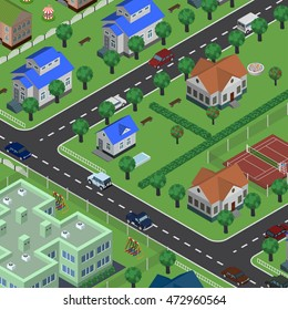 Isometric vector city in top view, with buildings, houses, roads, cars, tracks, children attractions, parks, apple trees. Urban cityscape.