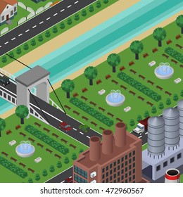 Isometric vector city in top view, with buildings, houses, roads, cars, factory, river, bridge, parks, fountains. Urban cityscape.