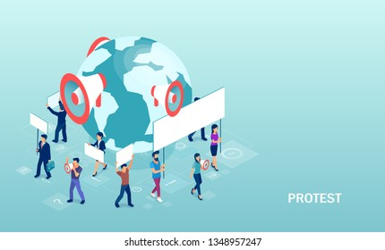 Isometric vector of crowd of diverse people protesters holding banners and placards taking part in political meeting or rally.