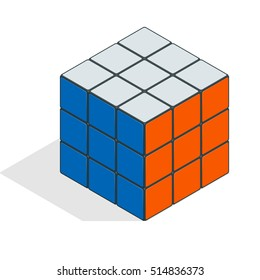 Isometric vector cube toy puzzle