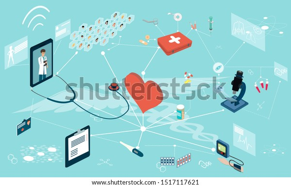 Isometric vector of doctor patient network diagnosis, treatment and online healthcare services