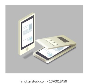 Isometric vector document scanning paper copy printing office scanner and office scanner printing equipment business copier. Modern electronics of digital Fax device. Scan a document to your phone