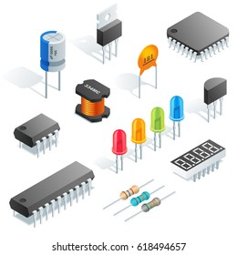 Isometric vector electronic components isolated on white background.