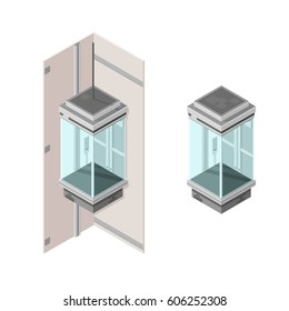 Isometric Vector Elevator Lift. Modern personal transportation.
