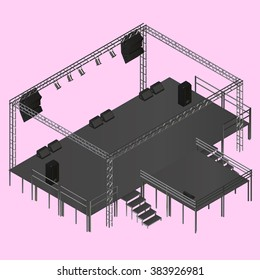Isometric vector event stage with truss, music equipment, speakers. Musical festival stage podium construction isometric illustration.