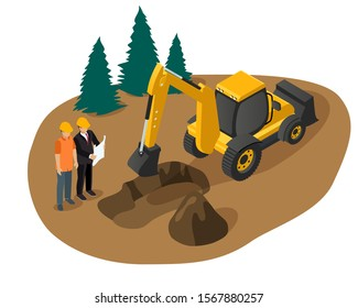 Isometric vector of an excavator digging a foundation pit for a building