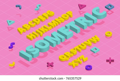 Isometric vector font. Letters in bright colors on isometric grid. 3d the volumetric letters. Bright colored game elements.
