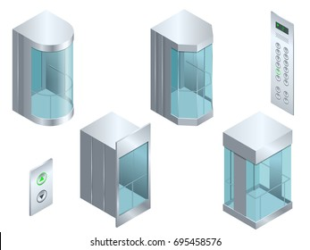 Isometric vector Glass futuristic cylindrical shape elevator or lift isometric interior with contemporary style lift hall.  Isolated flat illustration realistic empty elevator hall interior