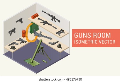 Isometric vector guns room with handguns, m4a1 assault rifle, minigun, mp5 submachine gun, dynamite, grenades, mortar grenade launcher. Room with rack and weapons.