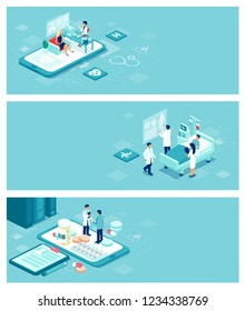 Isometric vector healthcare, doctors and patient care banner concept with people and objects