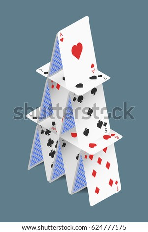 Isometric vector house of playing cards isolated on grey background.