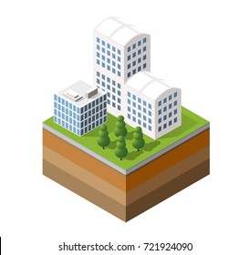 Isometric vector icon illustration of a modern city dimensional views of a skyscrapers