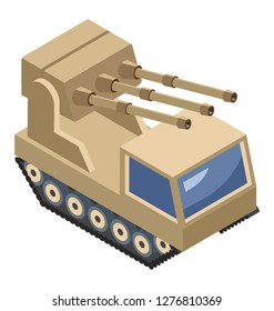 Isometric vector icon of miltary vehicle.